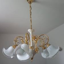 24K <b>Gold</b>-<b>Plated</b> Chandelier with Murano Glass Shades from B.C. ...