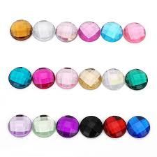 Wholesale <b>200Pcs 10mm Round</b> Acrylic Faceted Cabochons ...