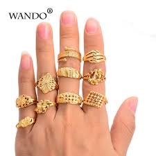 WANDO <b>10pcs</b>/<b>lot</b> mix items <b>Gold Color</b> Flower Lucky Ring African ...