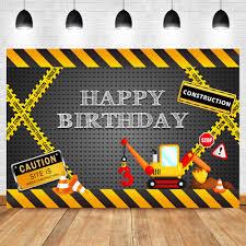 <b>NeoBack</b> Happy Birthday <b>Construction</b> Theme Backdrop Yellow ...