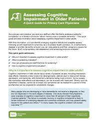 assessing cognitive impairment in older patients a quick guide assessing cognitive impairment in older patients a quick guide for primary care physicians national institute on aging