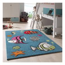 Children's <b>Rug 80x150 Cm</b> Rectangular FISH CLOWN Blue ...