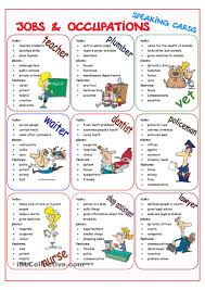 job descriptions occupations and places of work work nine speaking cards to talk about jobs and occupations what they do where they work and features skills they need present simple tense jobs work