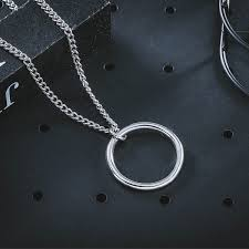 <b>Simple Geometric</b> Circle Pendant Necklace for <b>Men Silver</b> Color ...