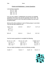 Inverse Multiplication / Division | Teaching IdeasInverse Multiplication / Division