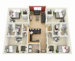 "Four "" "" Bedroom Apartment House Plans   Architecture  amp  Design    Bedroom  D"