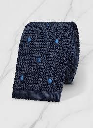 Navy blue - Embroided <b>polka dots</b> knitted <b>tie</b> 19HF3KNIT-I227/30 ...