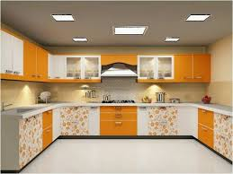 modular kitchen colors: modular kitchen space in bright orange colour