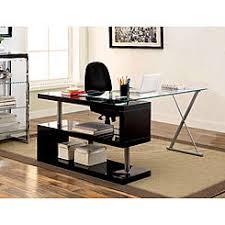 furniture of america lilliana black s shaped glass top office desk black glass office desk 1