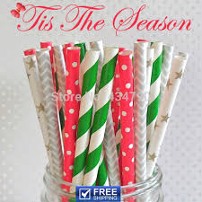 <b>200pcs Mixed</b> 4 Designs Tis The Season Paper Straws <b>Christmas</b> ...