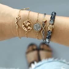 <b>5 Pcs/ Set Bohemian Turtle</b> Charm Bracelets Bangles For Women ...