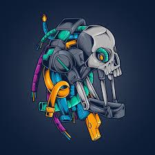 Premium Vector | <b>Skull robot</b> cyberpunk illustration