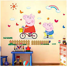 Utopiashi 3D cartoon pink family PVC <b>Decals</b> Adhesive Peppa <b>Pig</b> ...