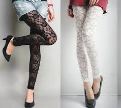 <b>Women</b>`s Floral Pattern Lace Black / White <b>Sexy Leggings</b> S-XXL ...