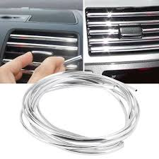 4m <b>U Shape Air Vent Outlet Car</b> Grille Switch Rim Chrome Trim Strip ...