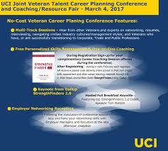 veteran talent career planning conference coaching veteran talent career planning conference offered to all veterans this veterans conference jointly sponsored by uc irvine several veteran focused