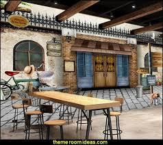 European <b>mural nostalgic</b> retro cafe | Coffee shop decor, French ...