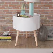 White Round <b>Side Table with Serving</b> Tray – Novielo London