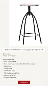 Pesina <b>Reclaimed</b> Wood Iron Leg Industrial <b>Bar Stool</b> | Industrial bar ...