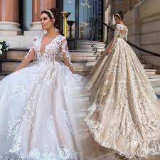 Dubai Africa Long Sleeve Tulle Wedding Dress 2019 Court Train ...