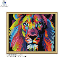<b>Joy sunday</b> DA189 Coloured lion,Counted Printed on Fabric DMC ...