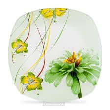<b>Тарелка HOME CAFE</b> Зеленая хризантема, 19,8см, стекло   www ...