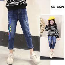 Ripped Jeans For Kids Girls <b>2018 Autumn New Fashion</b> Slim Denim ...