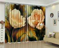 Wholesale Oil Painting Curtain <b>Two Delicate</b> Rose Oil Painting <b>3d</b> ...