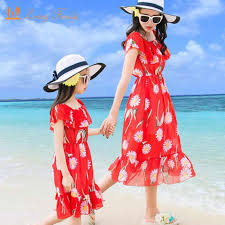 <b>Mother Daughter Dresses</b> Family Matching <b>Outfits</b> 2019 Summer ...