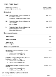 curriculum vitae template resume format and sample
