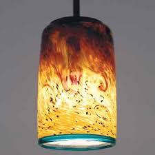 yellow orange fire pattern hand blown glass mini pendant lights tube shaped bulb cover blue lining blown glass pendant lighting