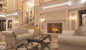 excellent classic interior of private residence hall the big genuine fireplace lined beige marble is the pinnacle of luxury and elegance which is impregnated the whole atmosphere of the hall