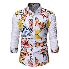 Mens Hawaiian Print Shirts Summer Long Sleeve ... - Amazon.com