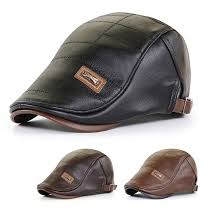 <b>Outdoor Leisure</b> Warm Beret <b>Men's</b> PU <b>Leather</b> Peaked Cap Middle ...