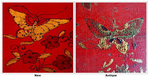 chinese gilded hand painted red gold butterflys black lacquer paint for furniture