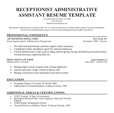 resume receptionist administrative assistant resume templates    resume receptionist administrative