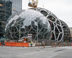 of buildings in downtown seattle that will be arrayed around three transparent conjoined structures that the company calls spheres credit ian c bates big garden office ian