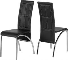 faux leather dining chair black:  a dining chairs set of  black faux leather chrome  pekmxekm