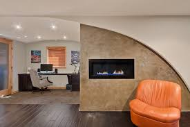 home office accent wall home office contemporary with brown carpet dark desk alcove contemporary home office