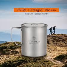Buy TOMSHOO-Ultralight 750ml <b>Titanium</b> Cup <b>Outdoor Portable</b> ...