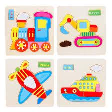 1pc <b>Kids</b> 3D Montessori Baby <b>Wooden Toys Wooden Cartoon</b> ...