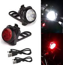 <b>Bicycle Lights</b> Bright Headlight <b>Taillight</b> Set <b>USB</b> Rechargeable LED ...
