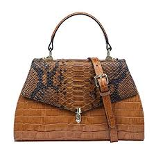 Vintage Crocodile <b>Women Genuine Leather Handbags</b> Ladies Top ...