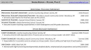 Sample Resume  Resume Exles For Preschool Teacher Assistant  Mr  Resume