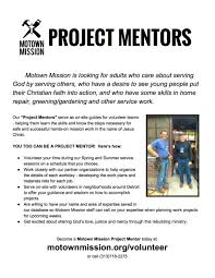 volunteer motown mission click here to this project mentors info sheet to share other skilled persons in