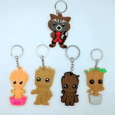 movie Groot Rocket Raccoon pvc cos key chain mini cartoon lovely ...