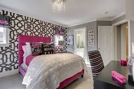 view in gallery combine a hint of pink with gray to shape a stylish girls bedroom design black bedroom furniture hint