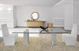chair dining tables room contemporary: amazing white room color applying modern dining room sets with glass table coupled with dual chairs