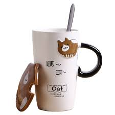 <b>Creative Cartoon</b> Embossed Cat Ceramic <b>Coffee</b> Mug with Lid ...