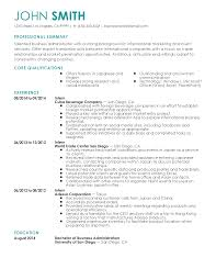 professional business administration intern templates to showcase resume templates business administration intern john smith professional summary